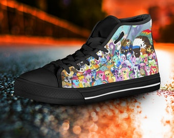 My Little Pony shoes, My Little Pony High Tops, Sneakers, colorful, Black High Tops, My Little Pony Converse unisex, men's, women's girls