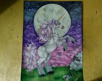 Unicorn moonlight 42x30 centimeters, single piece