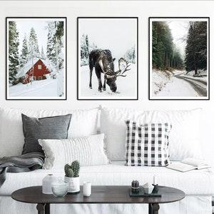 Set of 3 Prints Nature Wall Art Deer Christmas Printable 3 Piece Wall Art Set Scandinavian Decor Deer Art Digital Print 24x36 Moose Wall Art