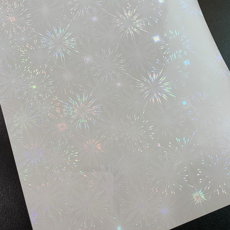 Firework Transparent Self Adhesive Holographic Film Choose Your Quantity or Pattern