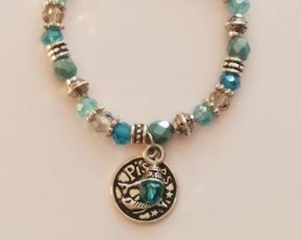 Zodiac Birthstone Charm Bracelet Pisces Aquamarine