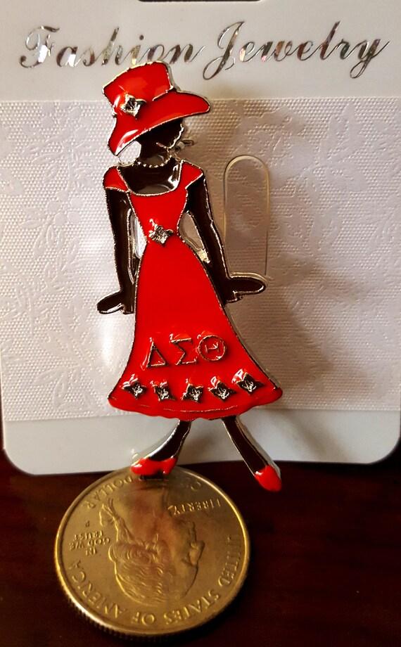 Delta Sigma Theta Sorority Inc Lady In Red Dress Dst Diva Etsy