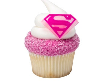 24 Supergirl Cupcake Toppers Superhero Cake Birthday Decorations