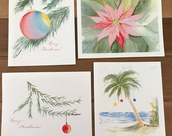 Christmas Cards set of 4 watercolor prints