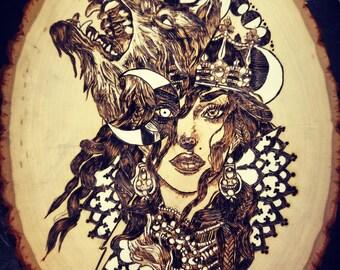 Luna Regina on 11x8 Basswood
