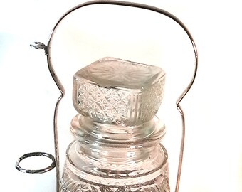 Vintage Glass Decanter with Silver Plated Holder