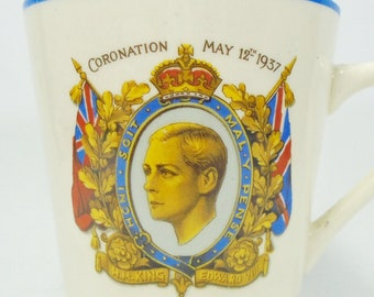 King George VI Ridgway Tankard Ridgways Pottery Tankard Royal Beer Mug Coronation 1937 Honey Glaze English Stein Queen Elizabeth