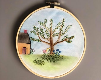 "Watercolour Embroidered Garden Scene - 6"" Embroidery Hoop Art - Gift/Home Decor"