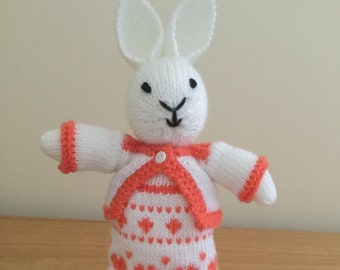 Cute little Bunny Rabbit Toy, Hand knitted , for girls
