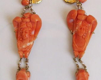 Engraved Coral yellow gold Earrings