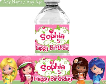Personalized Strawberry Shortcake Water Bottle Label Labels Party DIGITAL FILE