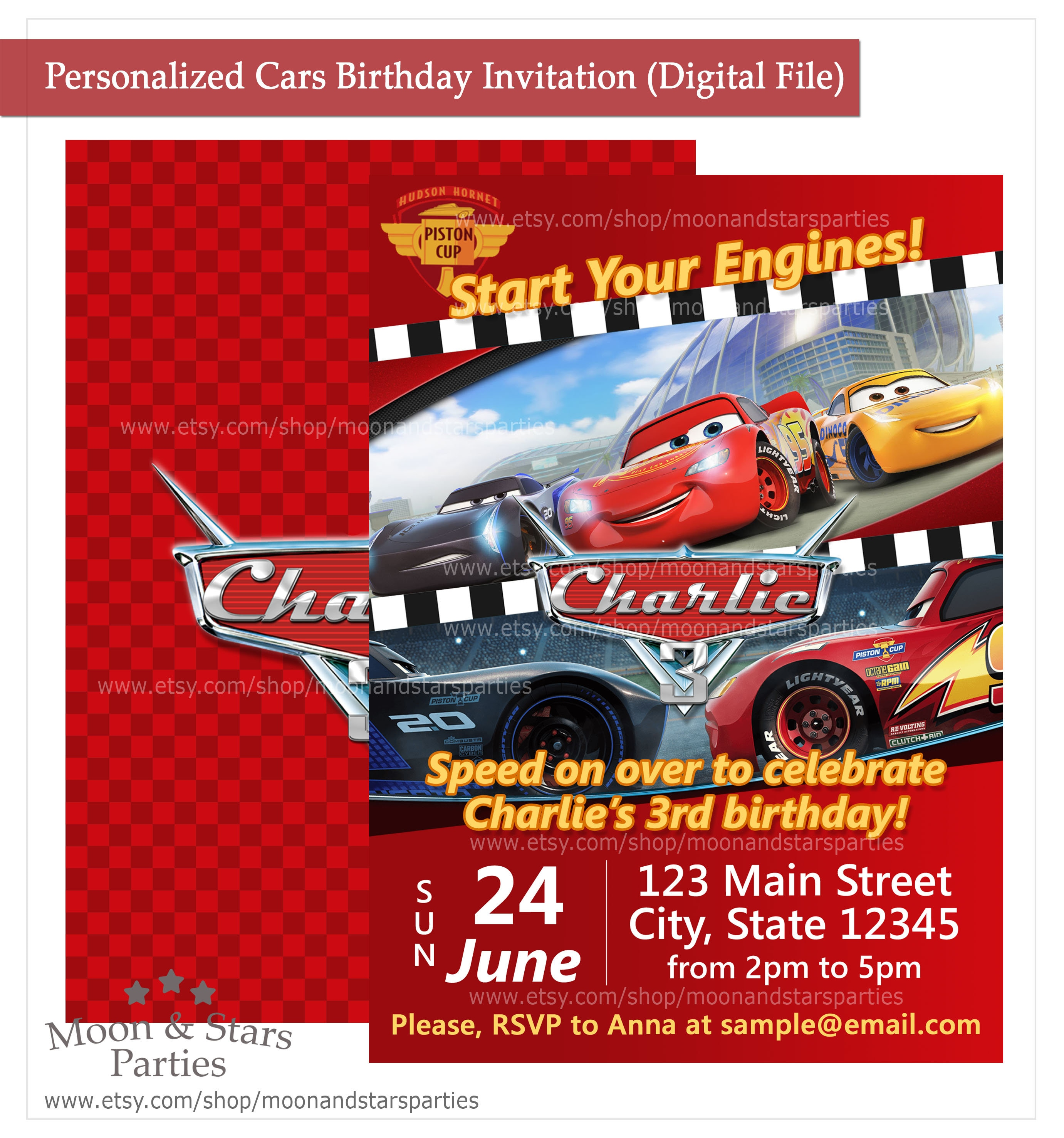 Cars Birthday Invitation Cars Invitation Cars 3 Birthday | Etsy