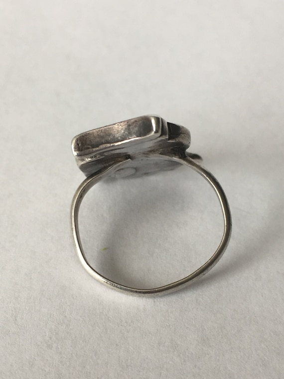 Simulated Black Onyx Antiqued .925 Silver Boho Scroll Ring