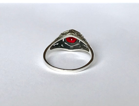 Antique Ruby CZ Ring // Solid Sterling Silver Siz… - image 7