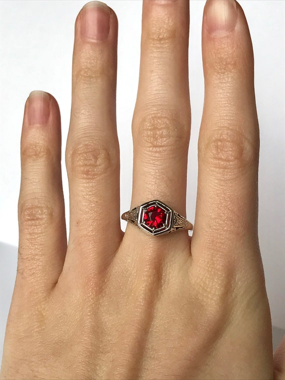 Antique Ruby CZ Ring // Solid Sterling Silver Siz… - image 3