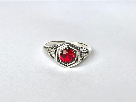 Antique Ruby CZ Ring // Solid Sterling Silver Siz… - image 2