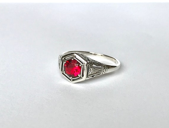 Antique Ruby CZ Ring // Solid Sterling Silver Siz… - image 1