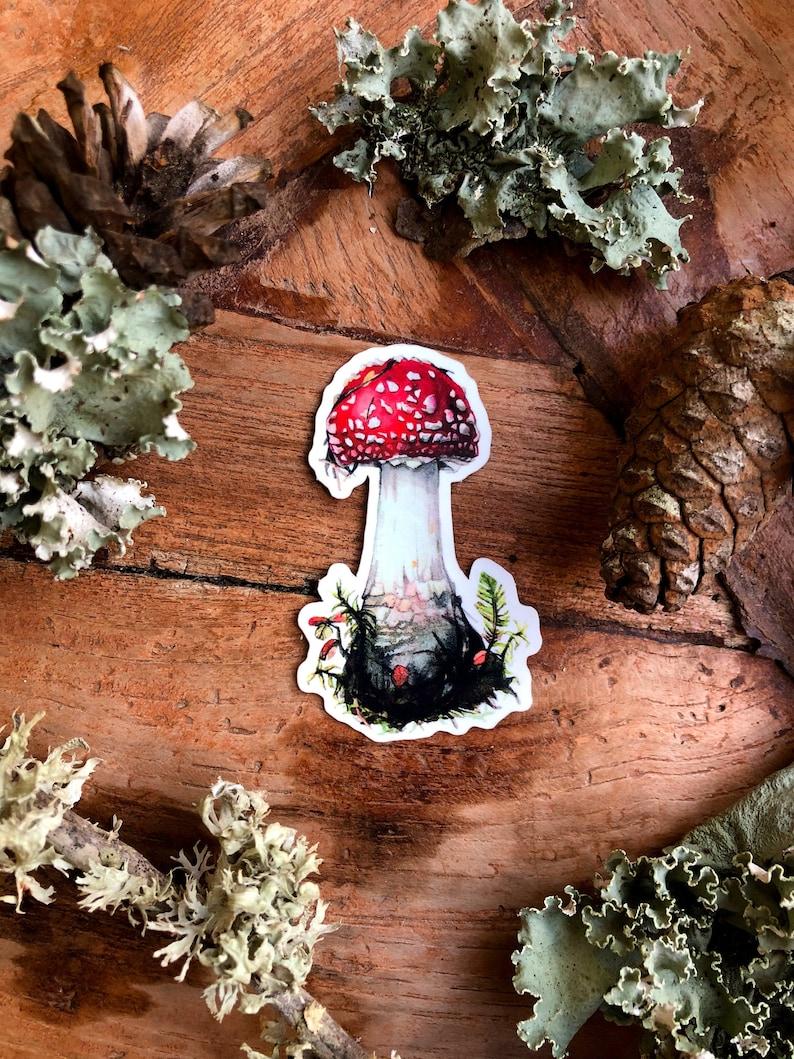 Laptop Fly Agaric mushroom sticker Vinyl mushroom and fox waterproof sticker Venomous mushroom vinyl sticker Scratch resistant sticker