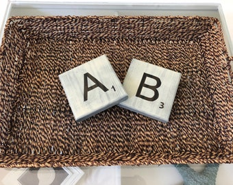 "5 1/2"" White Washed Scrabble Tiles"