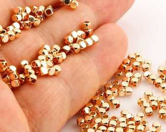 50 Pcs 2,5 mm 24k Gold Plated Spacer Beads, Cube Beads Tubes, Tiny Spacer Beads, Solid Brass Beads, Gold Plated Charms
