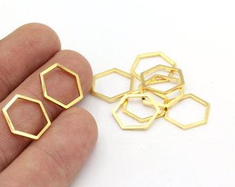 E075 Pendants Hexagon Choker Charm 6 Oxidized Brass Black Hexagon Charms 33x24.5x1mm Findings