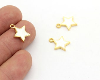 GLD-579 Star Findings 24k Gold Plated Star Charms 12x15mm Necklace Star Charms Star Pendant Colored Charms