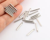 12 Pcs Silver Plated bars, 2x16mm, long round Bar, Long Bar , Pendant Bar , Connectors SLVR-16