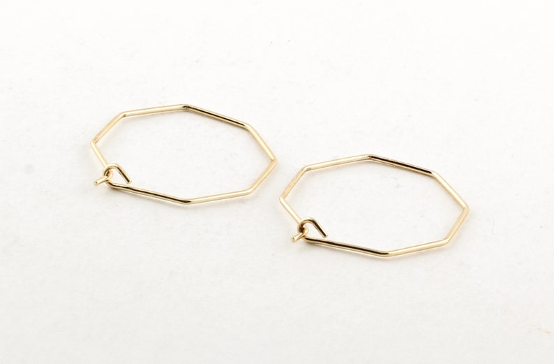 20mm Gold Plated Hexagon Earring 3 Pair Ear Wires Earring Findings 6 Pcs Hexagon Hoops