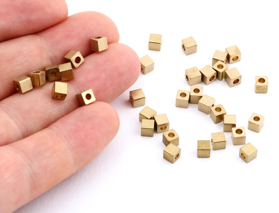 50 pc 4mm by 4mm FI-474 Raw Brass Cube Spacer Beads