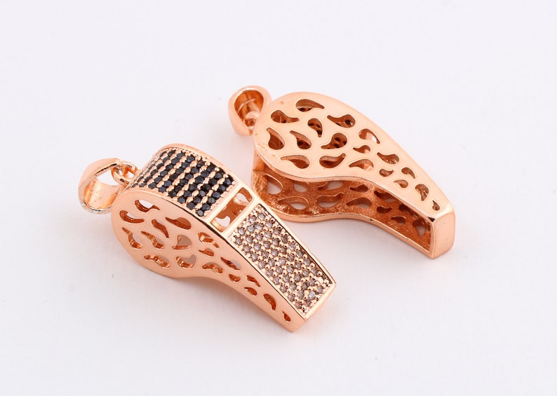1 Pcs Rose Gold Plated Necklace Pendant Rose Gold Whistle Findings Whistle Pendant ZRK-97