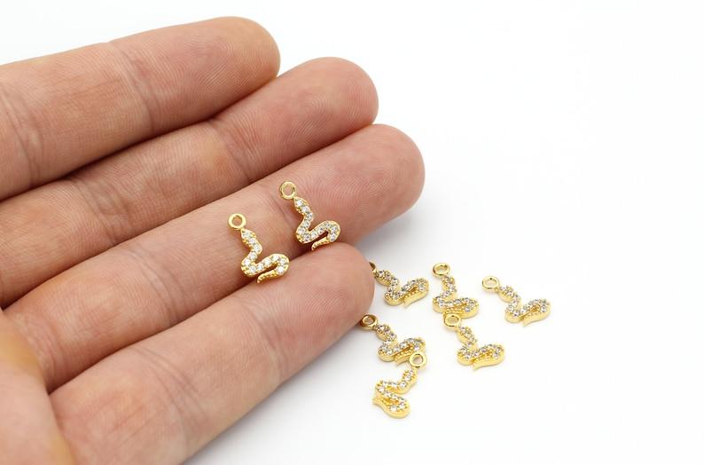 Micro Pave Pendant 8x13mm Micro Pave Snake Charms 24k Shiny Gold Snake Charm ZRK-323 CZ Beads CZ Snake Pendant