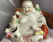 Vintage Big Chinese Hand Painted Porcelain Laughing Bhudda Figurine Statue