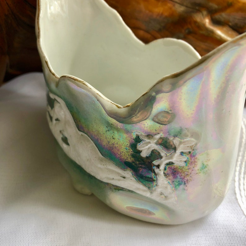 AntiqueVintage Altenburg Saxony Germany Porcelain Green Iridescent LustrewareRaised Relief BowlPlanter