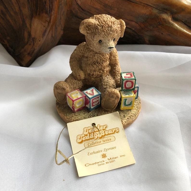 Vintage Tender Teddy Bears Collector Series Play Time Blocks Figurine 1992 Henry Wedemeyer Inc.