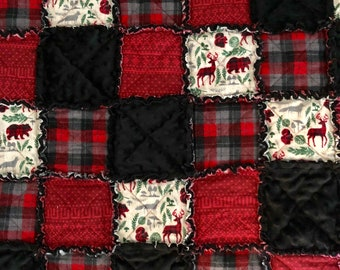 Rustic Cottage Baby Rag Quilt