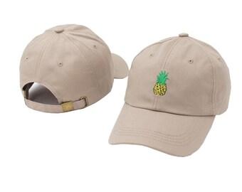 Beige Retro Pineapple baseball cap