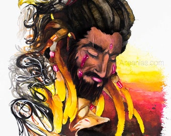 watercolor fierce décor, 11x14 in print, passionate art, Warrior embrace print, colorful sunset warrior, silhouette art unique, powerful art