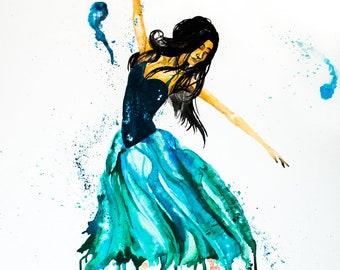 ballerina art, 8x10 in. print, Fine art wall print, Cambodian Ballerina, dancing art, watercolor art print, artwork prints, wall art, arie