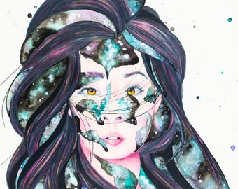 Watercolor fine art print, 8x10 in. print,  galaxy prints, Colored pencil prints, Pieces of Me, surreal art prints, whimsical art prints