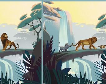 Tricot paneel met de Leeuwenkoning. Paneel 50 cm centimeter. Disney