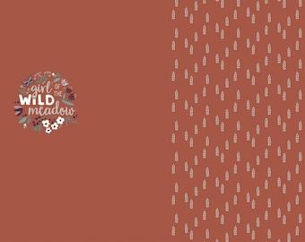 Roestbruine tricot met aren. Paneel 80 centimeter. A Good Harvest. Paneel Wild Meadow.
