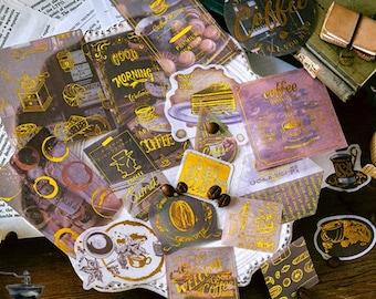 Koffie stickers met gold foil, 60 stuks