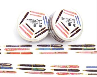 Witte washi tape met pennen