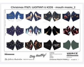Witte katoen voor kerst mondkapjes. Voorgeprinte mondkapjes