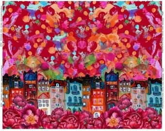 Rode tricot met huisjes en bloemen. Paneel 120 cm