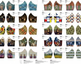 Witte katoen voor mondkapjes. 20 designs. Mondkapjes stof met kunstwerken