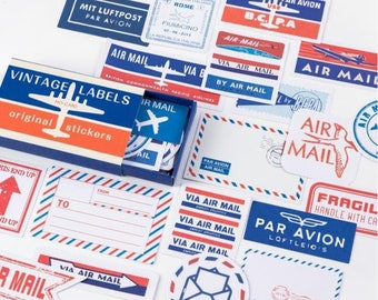 Retro label stickers, 60 stuks