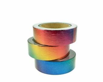 Regenboog washi tape. Glimmende washi tape, masking tape. Regenboog metallic washi
