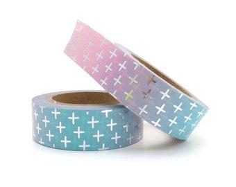 Zilver plusjes washi tape. Roze blauw ombre washi tape, masking tape