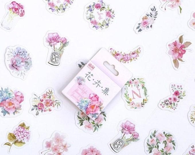 Roze bloemen stickers